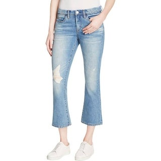 Blank NYC Womens Kickflare Cropped Jeans Light Wash Destroyed