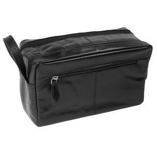 CTM® Leather Top Zip Travel Toiletry Kit - Black