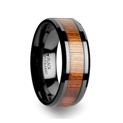 Thorsten Hawaiian Koa Mens Tungsten Rings Tungsten Koa Wood Inlaid Black Ceramic Wedding Ring Band with Bevels - 8mm