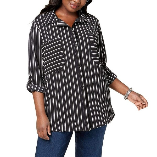 NY Collection Black Women's Size 1X Plus Stripe Button Down Shirt