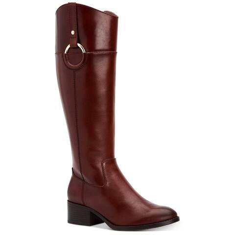 Alfani Womens Bexleyy Leather Almond Toe Knee High Riding Boots