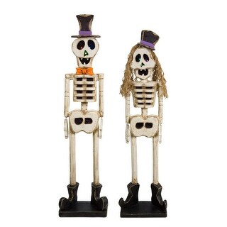 """Set of 2 Ivory White and Black Mgo Boy and Girl Skeleton Halloween Table top Figurines 48"""""""