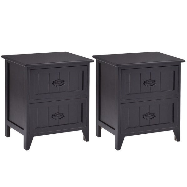 Gymax 2 Pcs Drawers Nightstands Storage Wood End Table Side Bedside Black