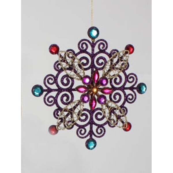 """5.75"""" Purple Glitter Snowflake with Gems Christmas Ornament"""
