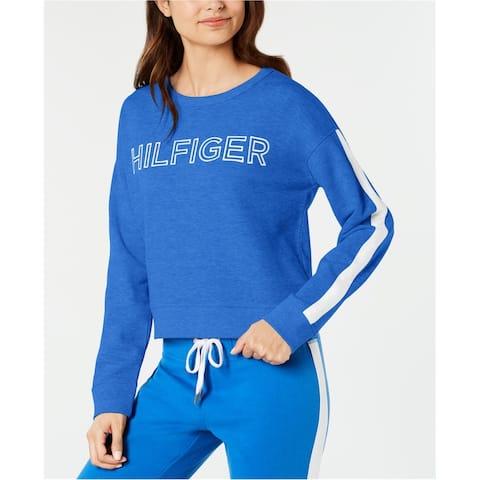Tommy Hilfiger Womens Embroidered Logo Sweatshirt, Blue, X-Large