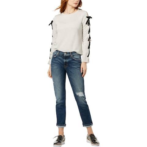 Hudson Womens Riley Ripped Straight Leg Jeans, Blue, 24