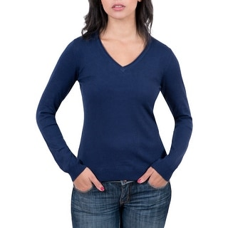 Real Cashmere Navy Blue V-Neck Womens Sweater