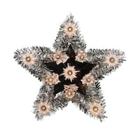 "9"" Lighted Silver Tinsel Star Christmas Tree Topper -Clear Lights"