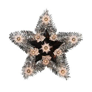 """9"""" Lighted Silver Tinsel Star Christmas Tree Topper -Clear Lights"""