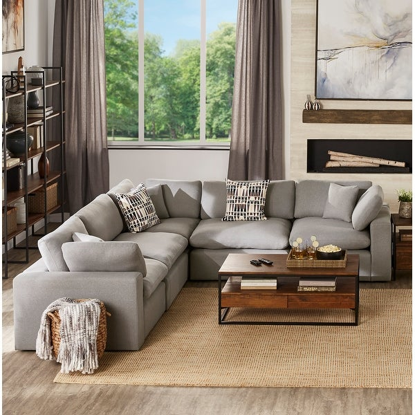 Anka Grey Linen Down Filled Cushioned 5-Seat Sectional Sofa by iNSPIRE Q Modern