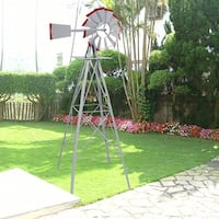 Costway 8Ft Tall Windmill Ornamental Wind Wheel Silver Gray And Red Garden Weather Vane