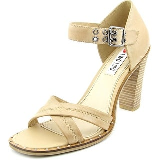Two Lips Calida Women Open Toe Leather Tan Sandals