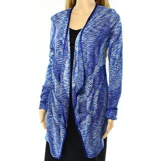 INC NEW Blue White Women's Size Large L Cardigan Space-Dyed Sweater