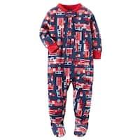 Carters Boys 12-24 Months Firetruck Fleece Pajama - 24 Months