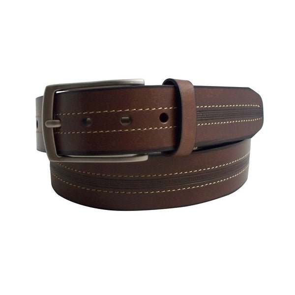 Danbury Western Belt Mens Genuine Leather Stitch Brown