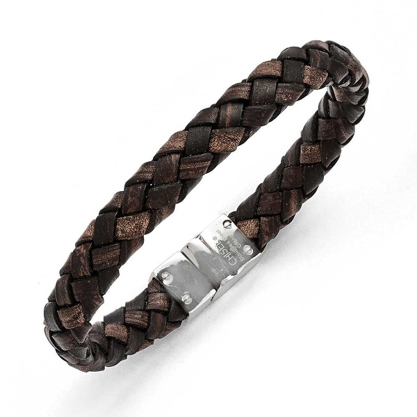 Chisel Stainless Steel Polished Brown Woven Leather Bracelet
