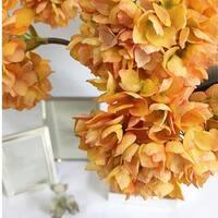 "G Home Collection Luxury Silk Single Hydrangea Stem in Orange 19"" Tall"