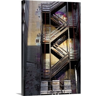 """Fire escape on building in Hosier Lane."" Canvas Wall Art"