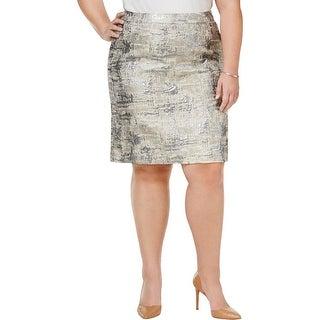Calvin Klein Womens Plus Pencil Skirt Metallic Jacquard - 20W