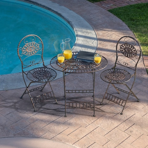 Alpine 3-Piece Oval Bistro Set Folding Table and Chairs, Bronze