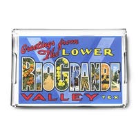 TX Lower Rio Grande Large Letter Vintage Halftone (Acrylic Serving Tray)