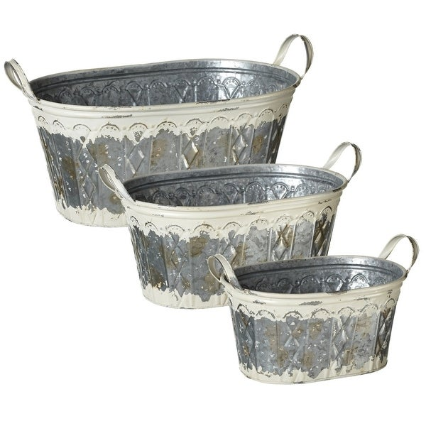 """Set of 6 Distressed White Metal Embossed Oval Planter with Handles 23"""" - N/A"""