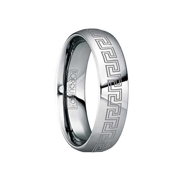 LAURENTIUS Tungsten Carbide Polished Ring with Engraved Greek Key Pattern by Crown Ring