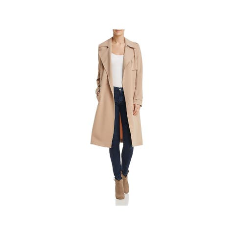 Theory Womens Trench Coat Crepe Long Sleeves