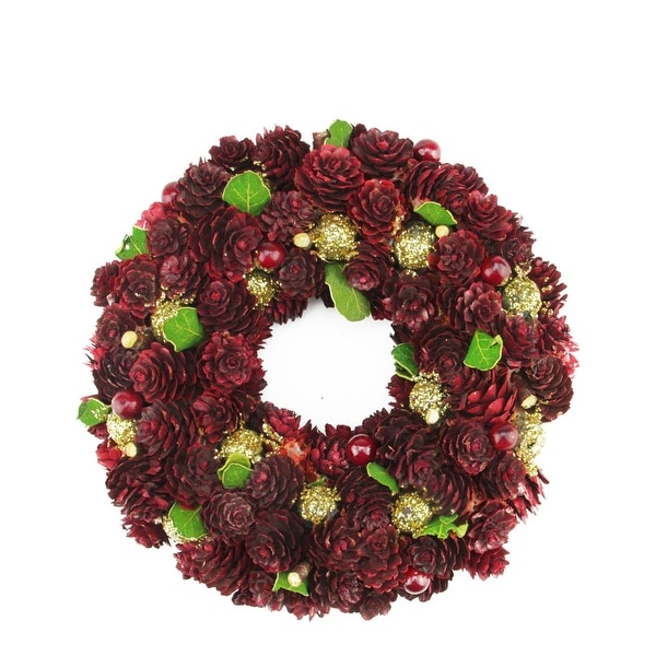 "9.5"" Wine Burgundy and Gold Glitter Pine Cone Artificial Christmas Wreath - Unlit"