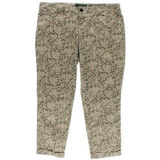 LRL Lauren Jeans Co. Womens Capri Pants Printed Cuffed