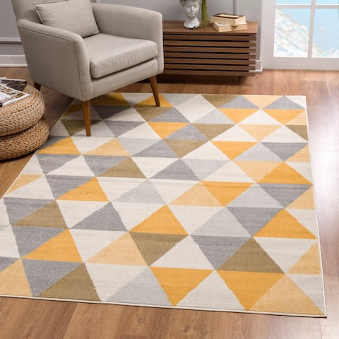 Rug Branch Savannah Modern Geometric Area Rug and Runner, Yellow