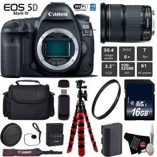 Canon EOS 5D Mark IV DSLR Camera with 24-105mm is STM Lens + Tripod + Case + Wrist Strap + Card Reader - Intl Model