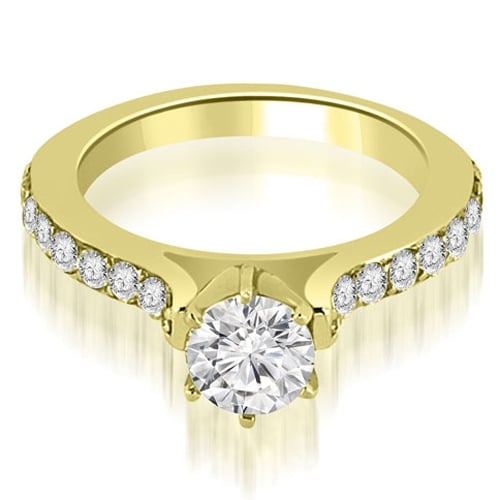 1.05 cttw. 14K Yellow Gold Cathedral Round Cut Diamond Engagement Ring