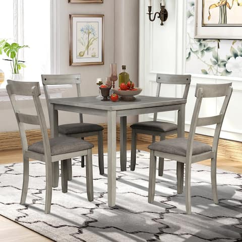 5 Pieces Dining Table Set Industrial Wooden