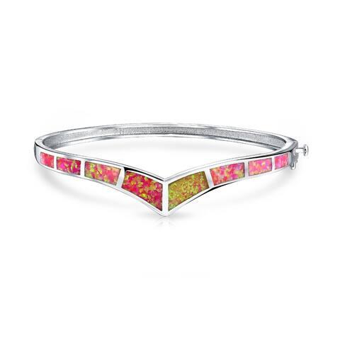 Chevron V Pink Inlay Created Opal Bangle Bracelet Sterling Silver