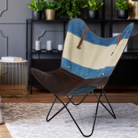 "Striped Canvas and Leather Butterfly Chair - 37"" L x 27"" W x 16"" D"