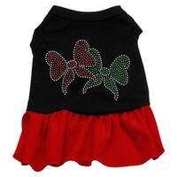 Christmas Bows Rhinestone Dress Black with Red XL (16)
