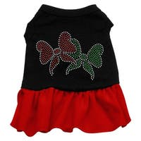 Christmas Bows Rhinestone Dress Black with Red XS (8)