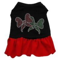 Christmas Bows Rhinestone Dress Black with Red XXL (18)