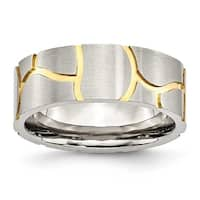 Chisel Stainless Steel Satin & Grooved Gold Plated Mens 8mm Band
