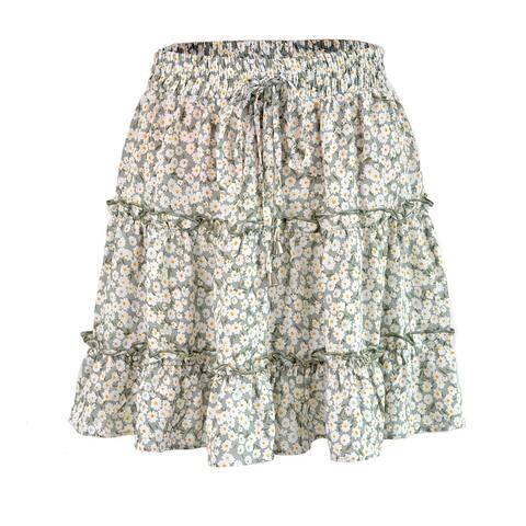 Beautiful Women's High Waist Ruffled Floral Beach A Word Skirt