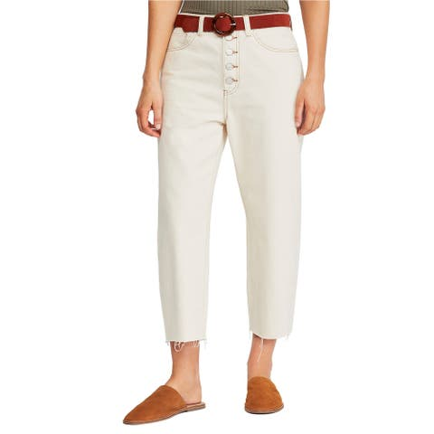 Free People Womens Barrel Button-Fly Cropped Jeans, Off-white, 26