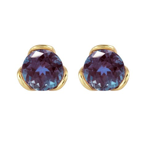 Gold Over Sterling Silver with Color Changing Blue Alexandrite Stud Earring