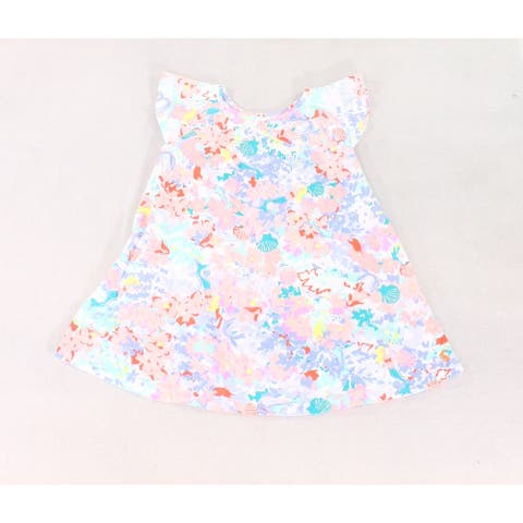 Joules Girl's Drea Pink White Blue Size 5 Vivi Crewneck Mixed-Print