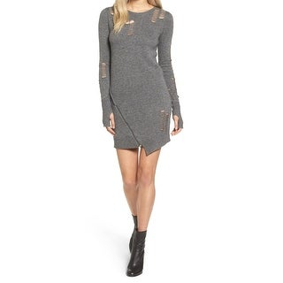 Pam & Gela Gray Womens Size Medium M Distressed Sweater Dress