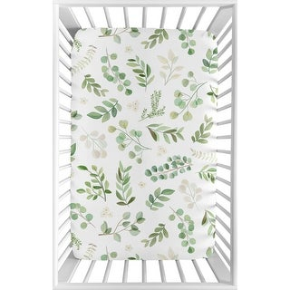 Floral Leaf Baby Girl Fitted Mini Portable Crib Sheet - Green and White Boho Watercolor Botanical Woodland Tropical Garden