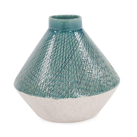 Cross Hatched Sea Blue Ceramic Angled Vase - 8H x 8W x 8D