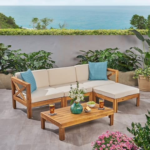 Alcove Outdoor Acacia Wood 5 Piece Sofa Set by Christopher Knight Home