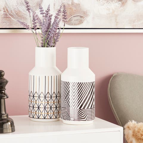 """Eclectic White Vases with Black & Gold Boho Patterns Set of 2 5"""" x 11"""""""