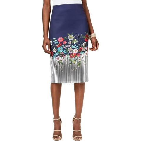 ECI New York Womens Pencil Skirt Floral Print Knee-Length